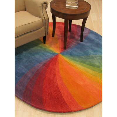 Hanchett Contemporary Abstract Hand-Tufted Wool Multi-colored Area Rug Rug Size: Round 4