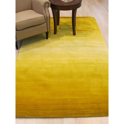 Bourgeois Contemporary Solid Hand-Woven Wool Yellow Area Rug Rug Size: 79 x 99