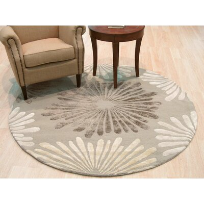 Orville Traditional Floral Sunflower Hand-Tufted Wool Silver Area Rug Rug Size: Round 6