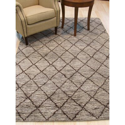 Durrant Traditional Trellis Hand-Knotted Wool Gray Area Rug Rug Size: 89 x 119