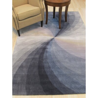 Hanchett Contemporary Abstract Hand-Tufted Wool Blue Area Rug Rug Size: Round 6