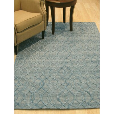 Oscar Traditional Hand-Woven Wool Gray/Blue Area Rug Rug Size: 5 x 7