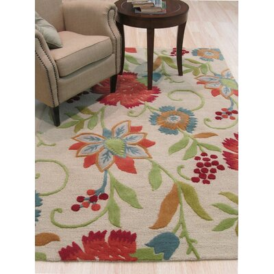 Spring Garden Hand-Tufted Wool Beige Area Rug Rug Size: Rectangle 12 x 15