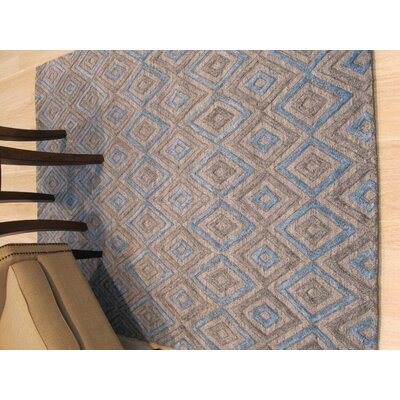 Durazo Solid Hand-Woven Wool Gray/Blue Area Rug Rug Size: 5 x 7