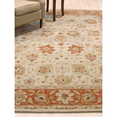 Cammi Traditional Floral Hand-Tufted Wool Beige Area Rug Rug Size: Rectangle 8 x 10