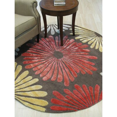 Sunflower Hand-Tufted Wool Brown Area Rug Rug Size: Round 79
