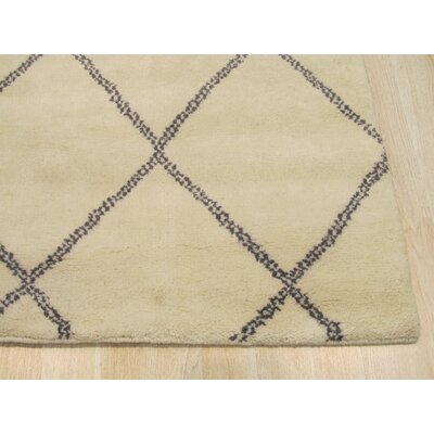 Durrant Traditional Trellis Hand-Knotted Wool Ivory Area Rug
