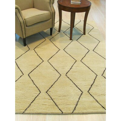 Willmon Transitional Trellis Hand-Knotted Wool Ivory Area Rug Rug Size: 9 x 12