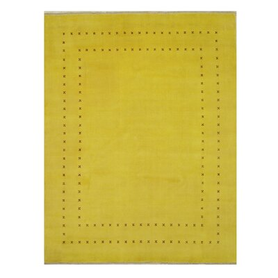 Dreher Transitional Solid Hand-Woven Wool Yellow Area Rug Rug Size: Rectangle 10 x 14