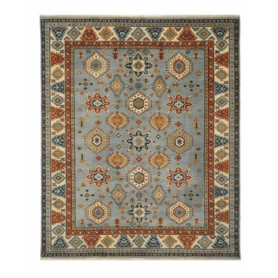 Drewry Traditional Southwestern Hand-Knotted Wool Blue/Ivory Area Rug Rug Size: Rectangle 6 x 9