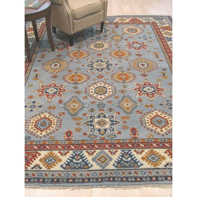 Wallenstein Hand-Knotted Wool Blue Area Rug Rug Size: 9 x 12