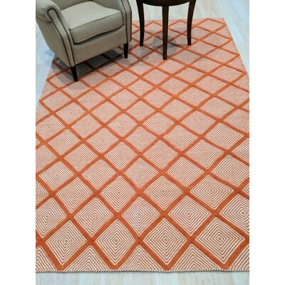 Willman Hand-Woven Wool Orange Area Rug Rug Size: 6 x 9