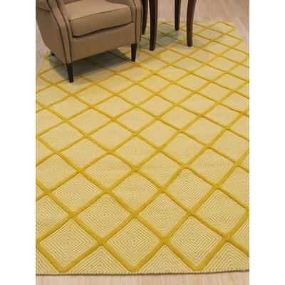 Willman Hand-Woven Wool Yellow Area Rug Rug Size: 6 x 9