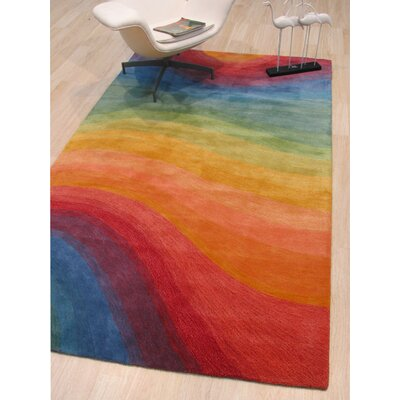 Sinderen Contemporary Abstract Hand-Tufted Red/Orange/Blue Area Rug Rug Size: Round 6'