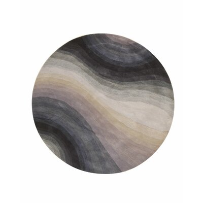 Sinderen Contemporary Abstract Hand-Tufted Wool Blue Area Rug Rug Size: Round 99