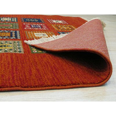 Archimbald Wool Red/Orange/Blue Area Rug