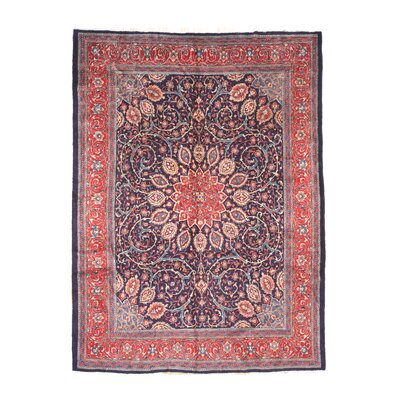 Mira Hand-Knotted Wool Blue/Red Area Rug