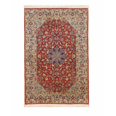 Esfahan Hand-Knotted Wool Red Area Rug