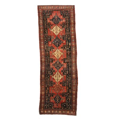 Arick Hand-Knotted Wool Red/Beige/Black Area Rug