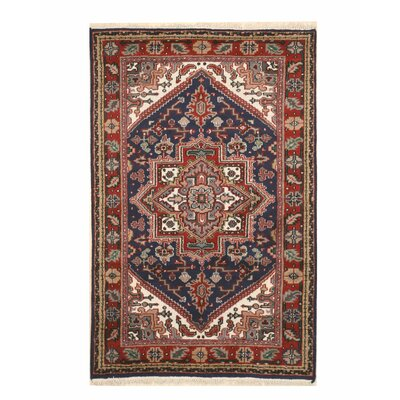 Aren Hand-Knotted Wool Blue/Red Area Rug Rug Size: Rectangle 4 x 6