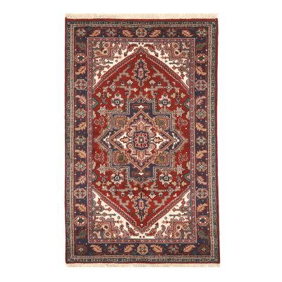 Aren Hand-Knotted Wool Red Area Rug Rug Size: Rectangle 3 x 5