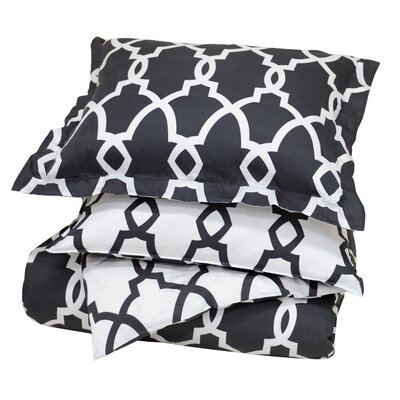 Marion Reversible Duvet Cover Color: Charcoal, Size: Full/Queen