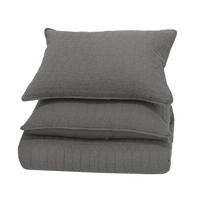 Corinne Reversible Quilt Color: Grey, Size: King