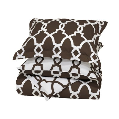 Marion Reversible Duvet Cover Color: Chocolate, Size: Full/Queen
