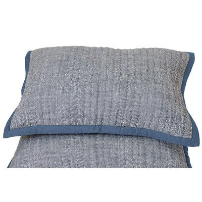 Aurora Herringbone Sham Size: Standard, Color: Denim Blue