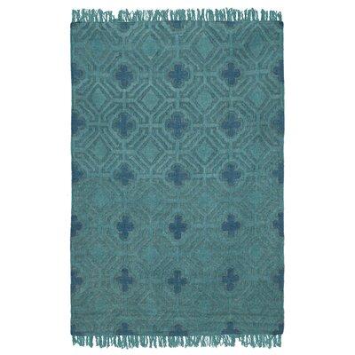 Sofia Flatweave Teal Indoor/Outdoor Area Rug W30025254F