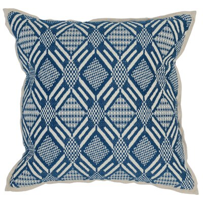 Montfort Cotton Throw Pillow Color: Blue/Ivory