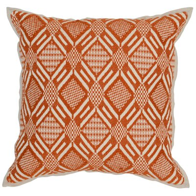 Montfort Cotton Throw Pillow Color: Orange/Ivory