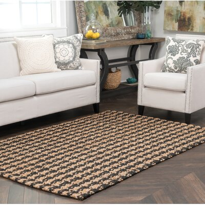 Dogtooth Handspun Jute Black Area Rug Rug Size: Rectangle 2 x 3