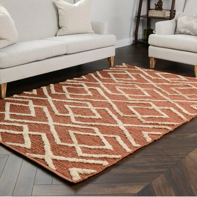 Athena Soumak Sienna/Bleach Indoor/Outdoor Area Rug Rug Size: 8 x 10
