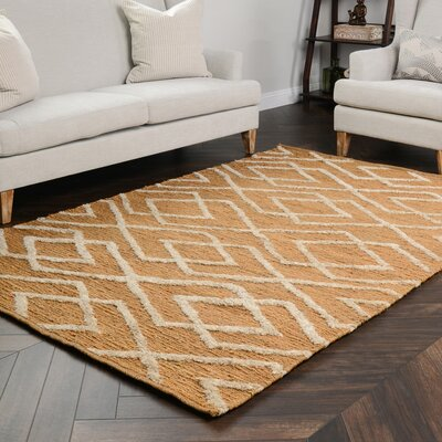Athena Soumak Gold/Bleach Indoor/Outdoor Area Rug Rug Size: 5 x 8