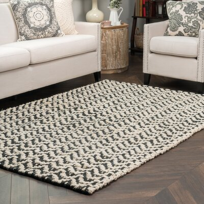 Devisal Black/Bleach Herringbone Indoor/Outdoor Area Rug Rug Size: 5 x 8
