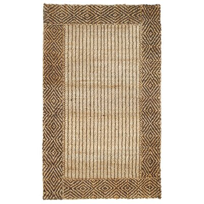 Cabana Braided Border Brown Area Rug Rug Size: 5 x 8