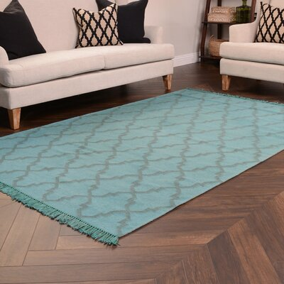 Amelia Overdyed Teal Indoor/Outdoor Area Rug W30025272F