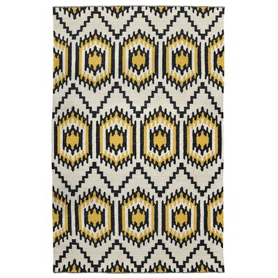Cavelier Hand-Woven Black/Gold Indoor/Outdoor Area Rug Rug Size: 2 x 3