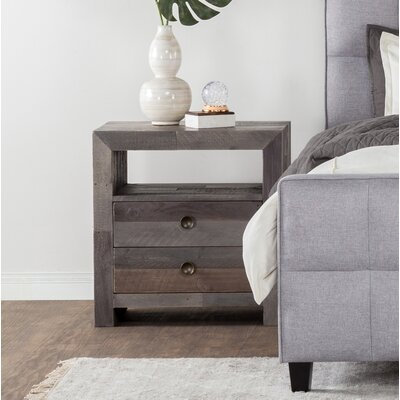 Needham 2 Drawer Nightstand Color: Charcoal
