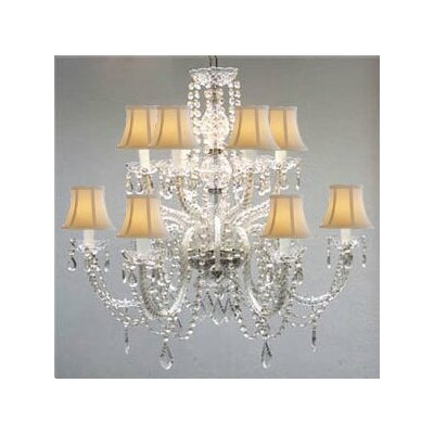 Juan 12-Light Crystal Chandelier Shade Color: White
