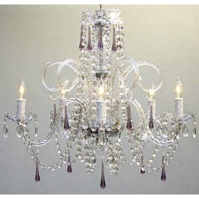 5-Light Crystal Chandelier Crystal Color: Amethyst Purple