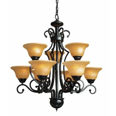 Alvan 9-Light Black/Yellow Shaded Chandelier