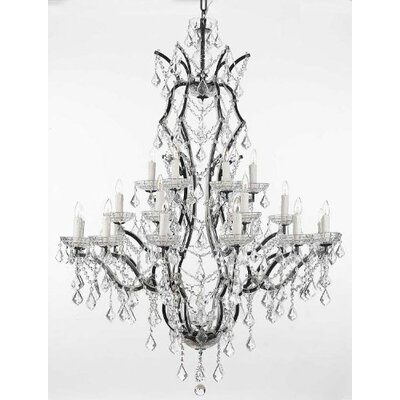 Alvan 25-Light Traditional Black Crystal Chandelier