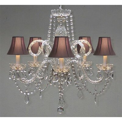 Meredith 5-Light Crystal Chandelier Shade Color: Black