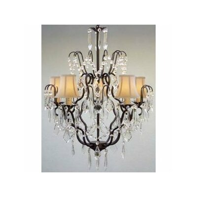 Clemence 5-Light Traditional Crystal Chandelier Shade Color: White