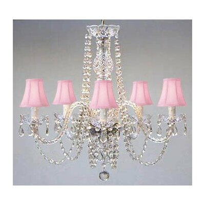 Kawamura Swarovski 5-Light Shaded Chandelier Shade Color: Pink