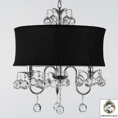 3 Light Crystal Chandelier Shade Color: White image