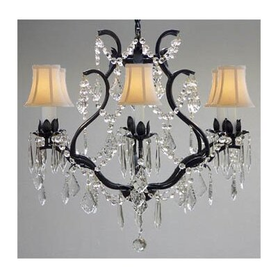 Clemence 6-Light Shaded Chandelier Shade Color: White