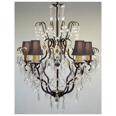 Clemence 5-Light Traditional Crystal Chandelier Shade Color: Black